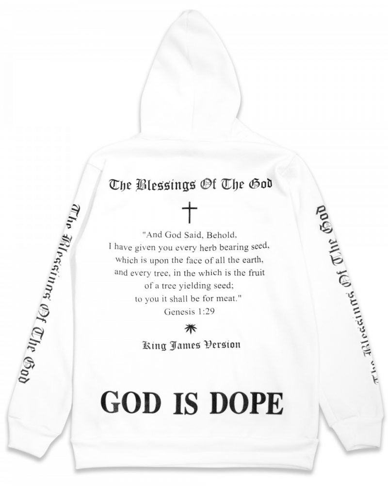 "TREZ ""GOD IS DOPE "" HOODIE WHITE"