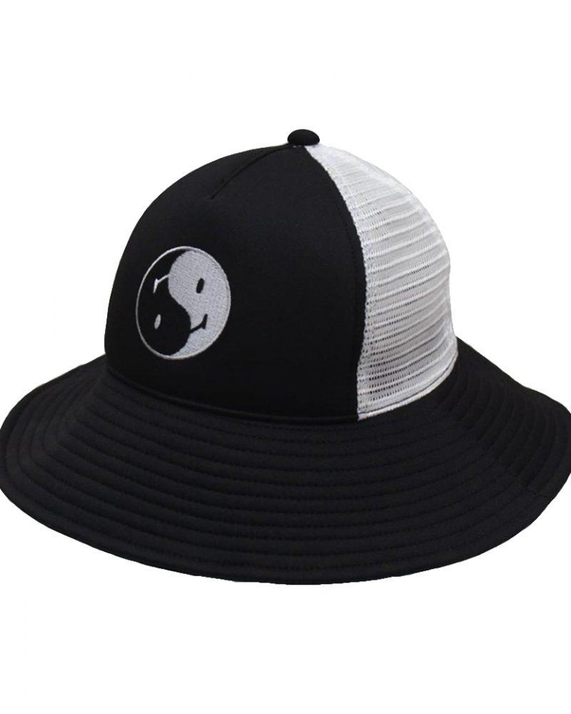 SMILE CLUB CUSTOM YIN YANG TRUCKER BUCKET HAT BLACK